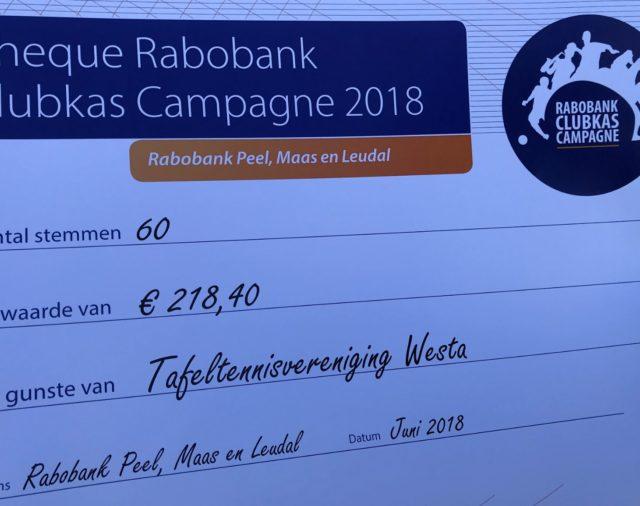 Cheque voor Westa van Rabo Clubkas actie